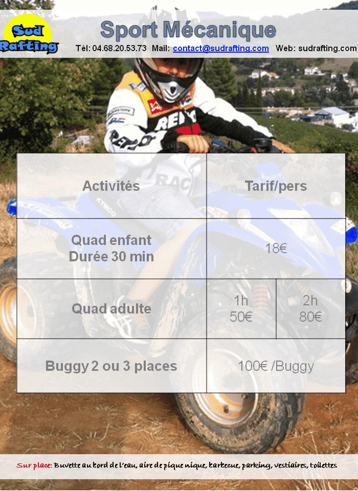 tarifs 2019 sports mécaniques
