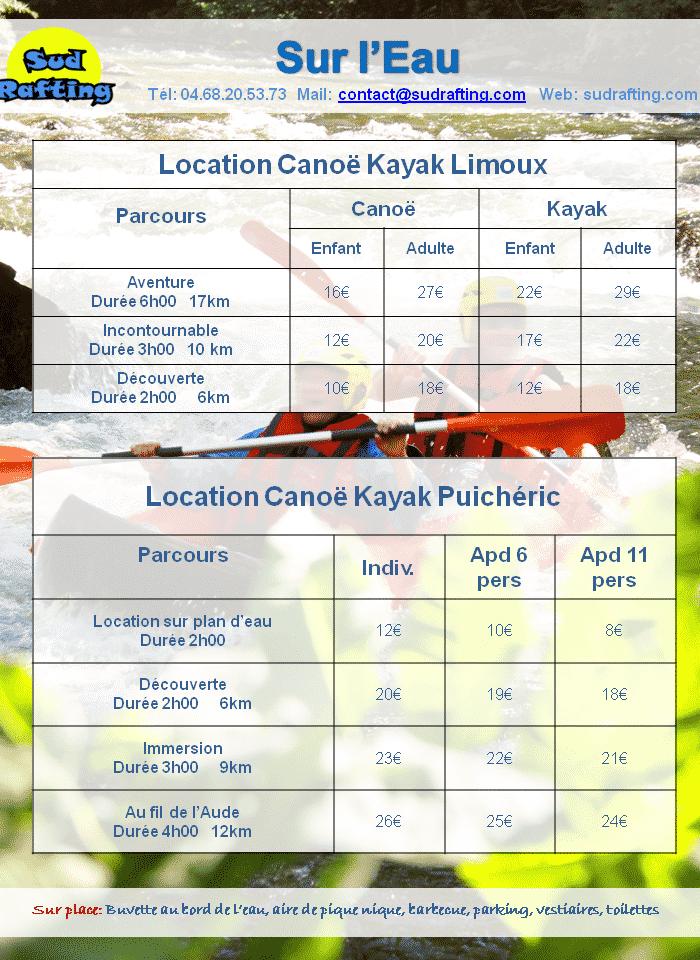 tarifs 2019 sur l'eau Canoë