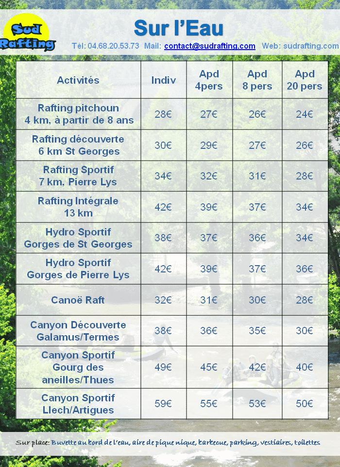 tarifs 2019 sur l'eau eau vive