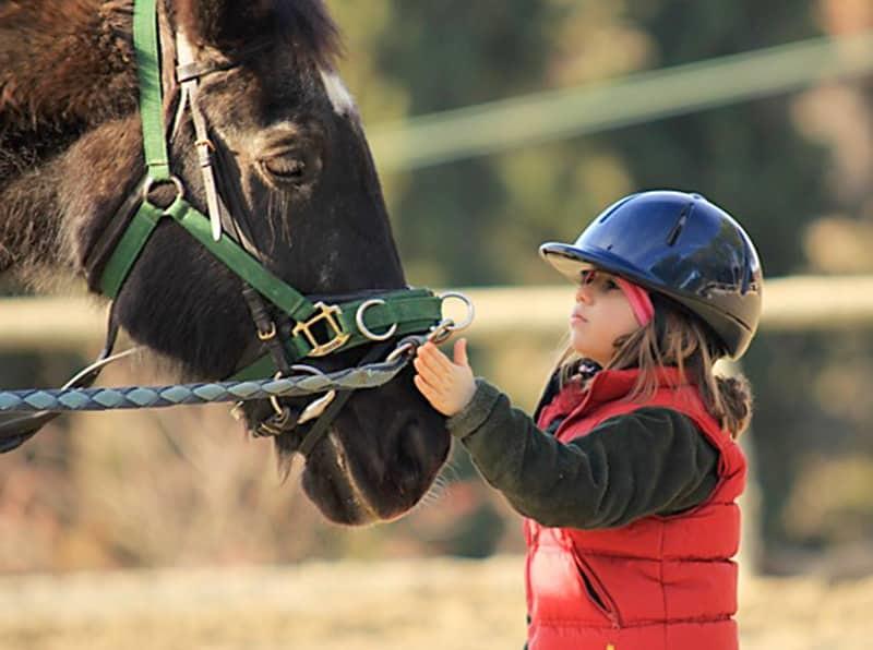 Petite fille durant une séance d'equitation dans l'Aude