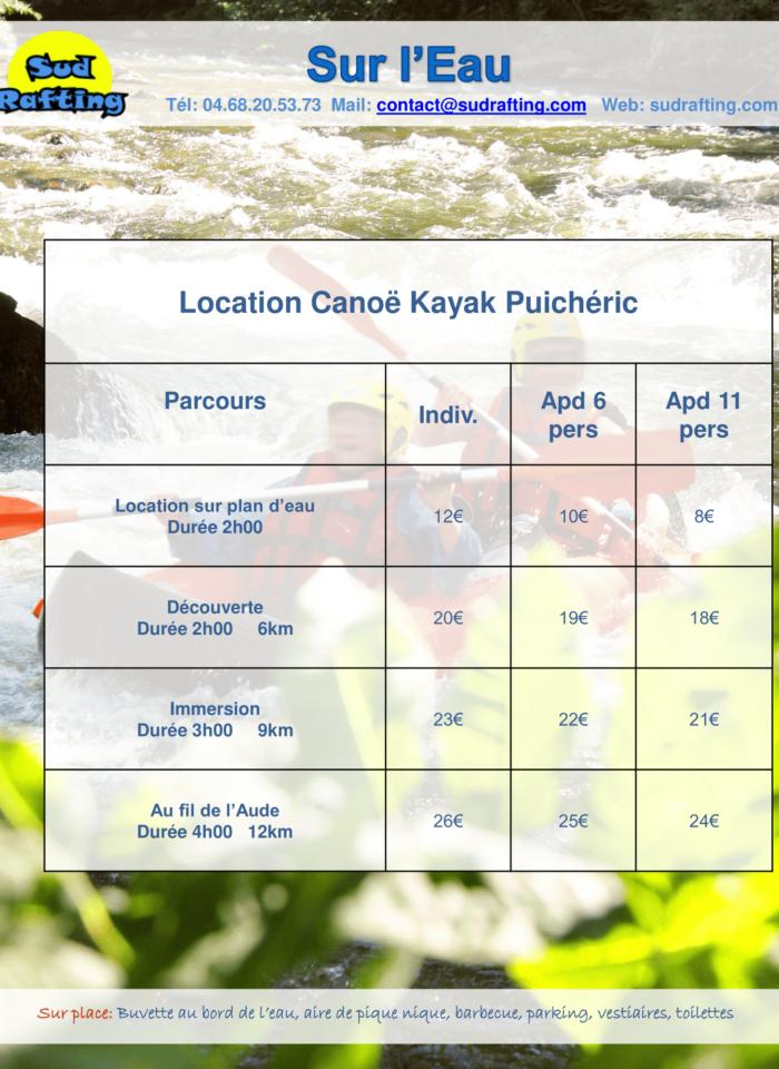 tarifs 2019 sur l'eau Canoë-1